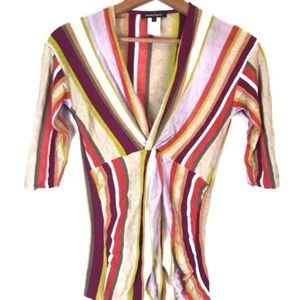 Nanette Lepore Striped Linen Blend Blouse